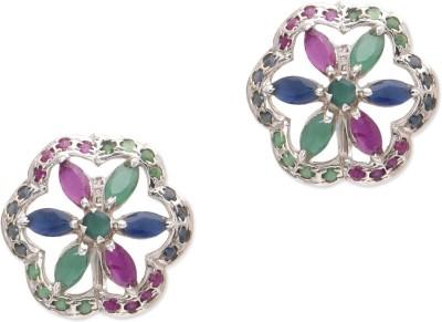 Watch Me Zippy Zinnia- Multicolored Ruby, Emerald, Sapphire Sterling Silver Stud Earring