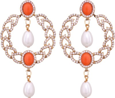 Vendee Fashion Round & Pearls drop Alloy Drop Earring