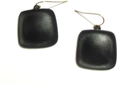 Bohocraft Bohemian Simple Elegant MidnightBlack Square Metal Dangle Earring