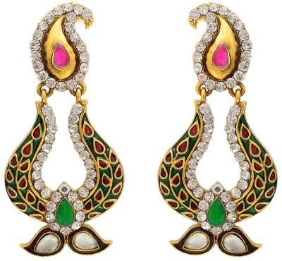 Aaishwarya Gorgeous Paisley Design Meenakari Crystal Brass Chandbali Earring