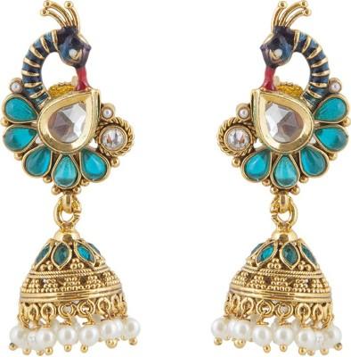 moKanc Modern Morni Crystal Brass Jhumki Earring