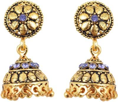 Diovanni Purple Color American Diamond Golden Metal Jhumki Earring