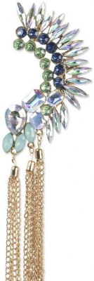 femnmas Crystal Leaf Stone Celebrity Party Alloy Cuff Earring