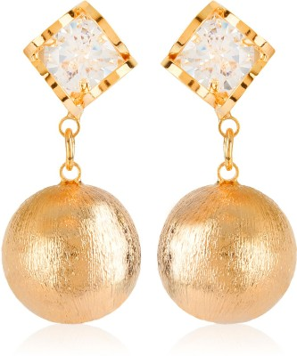 Moedbuille Stunning Cz Encrusted Designer Golden Crystal Alloy Drop Earring