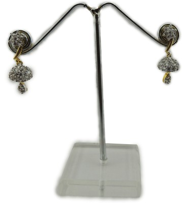 Bharat Sales Party wear In Floral Collection white color Cubic Zirconia Copper Drop Earring
