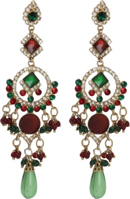 Maisha Festive Collection Red & Green Alloy Chandelier Earring