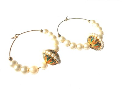 Tanishka By Bharati Thakur Traditional Pearl Alloy Hoop Earring