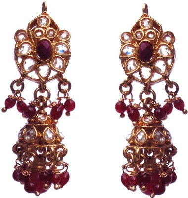 Kundaan Polki Pair Crystal Copper Jhumki Earring at flipkart