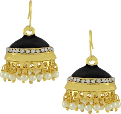 Naveli Gold Plated Pearl Shiny Black Copper Drop Earring