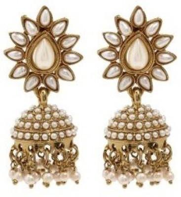Shilpihandicrafts White earrings Beads Alloy Jhumki Earring