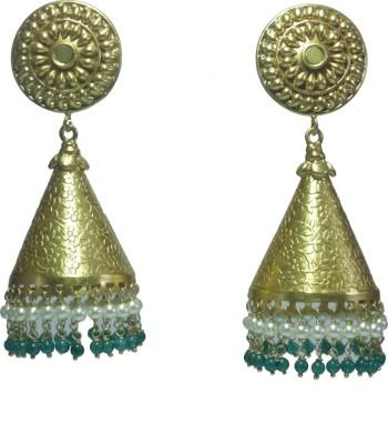 GnJ Golden Pearl, Onyx Sterling Silver Jhumki Earring