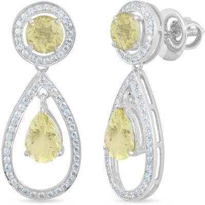 VelvetCase Lemon Quartz and White Topaz Halo Earrings Topaz Silver Stud Earring