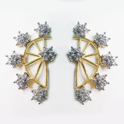 Fashion Max Floral Design Adjustable Brass Cuff Earring