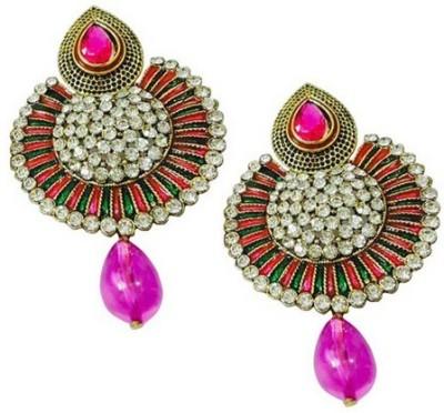 Bling-Bling Pink Ethnic Alloy Drop Earring