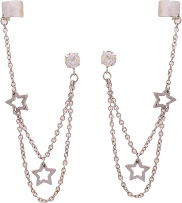 Sankisho Silver Stars Metal, Alloy, Glass Cuff Earring