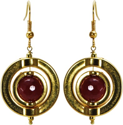 Twishq Rotating ring earring in Red and Golden by TwishQ Alloy Dangle Earring