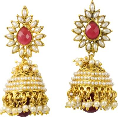 Jewelskaro Designer Pearl Ruby Brass Jhumki Earring