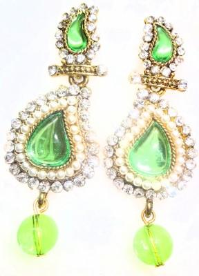 SB Fashions Green pearl earring Brass Drop Earring