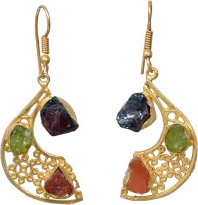 JEWELS ART Garnet Brass Dangle Earring
