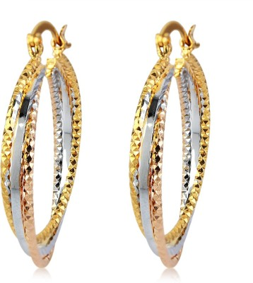 Fab Fashion Tri-Color twisted Cubic Zirconia Alloy Hoop Earring