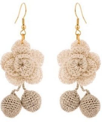 NeedyBee Cute Crochet Flower Handmade Party Wear Girls Silk Dori Dangle Earring
