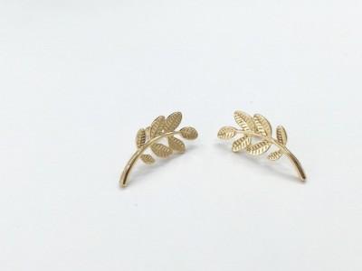 Arkina Diamonds Leafy Paradise Brass Stud Earring