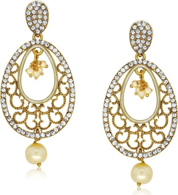 Spargz Fashionable Oval Studded with AD Stone Alloy Drop Earring