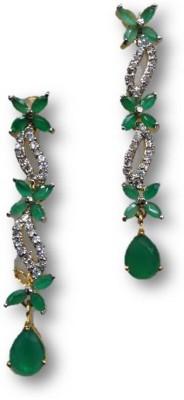 Rajgharana Green Ribbon Cubic Zirconia Alloy Drop Earring