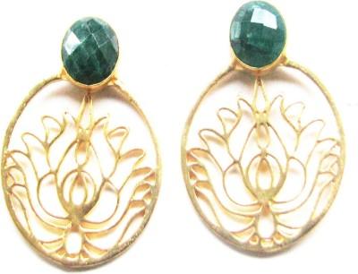 Bhrti semi precious Gold plated Emerald Brass Stud Earring