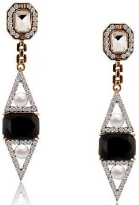 Aaishwarya Geometric Black Victorian Crystal Alloy Drop Earring