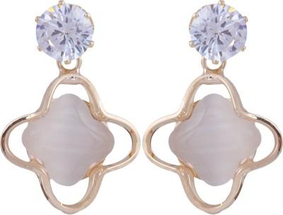 Pink Rose Diamond Look Princess Passion Alloy Drop Earring