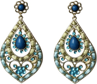 Prystal Leafy Loook And Lace Work Alloy Drop Earring