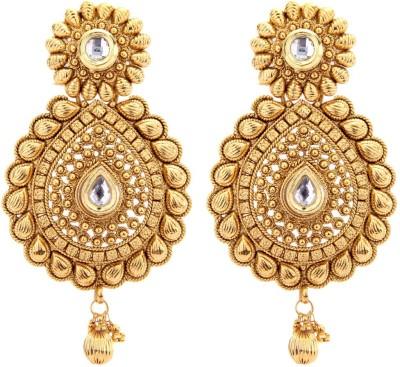 Miracle Jewels Style Diva Kundan Earring Brass, Copper Drop Earring
