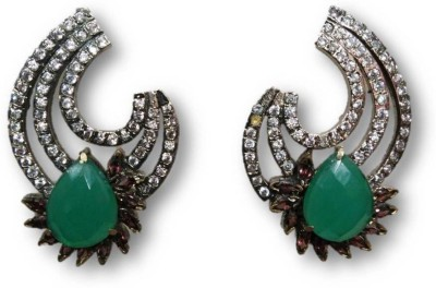 Rajgharana Green Petal Cubic Zirconia Alloy Stud Earring
