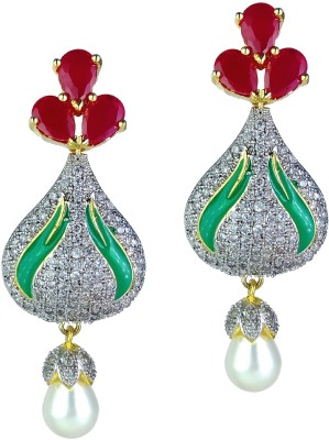 YUVEN Multi-Color With Americon Diamond Zircon Brass, Alloy Chandelier Earring