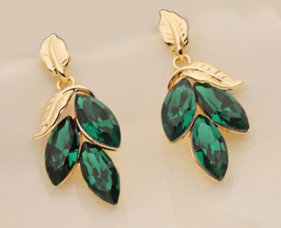 Bling N Beads Leafy Metal, Silver Drop Earring