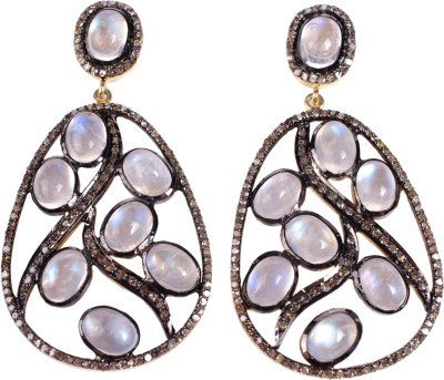 My DT Lifestyle Victorian Style EARING Moonstone Yellow Gold Dangle Earring