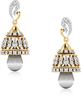 IskiUski Anisa Yellow Gold 14kt Swarovski Crystal Jhumki Earring(Yellow Gold Plated) at flipkart