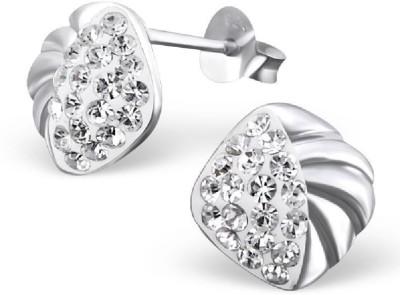 Maayin Silver Stripes Crystal Silver Stud Earring