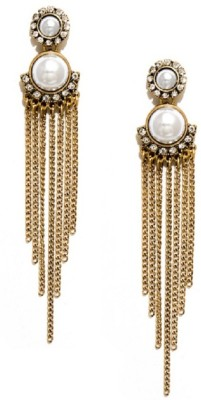 Fabula Gold & White Zircon Diamond & Pearl Tassel Traditional Ethnic Jewellery for Women & Girls Metal Dangle Earring