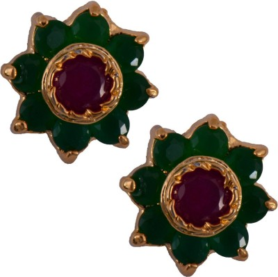Mahaveer Pearls Gorgeous Ruby Brass Stud Earring