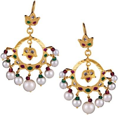 Mahaveer Pearls Gold Polished Stones & Pearls Pearl Brass Chandbali Earring