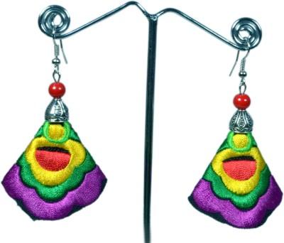 Angelfish Handmade purple embroidery long drop Fabric Dangle Earring