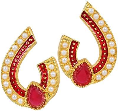 Maayra Cute Meenakari Pearl Copper Stud Earring