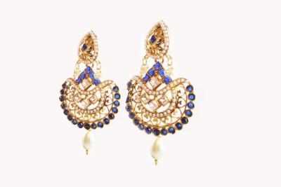 Ratnaraj India Blue Colour American Diamond Gold Plated Pearl Jewellery Copper Drop Earring