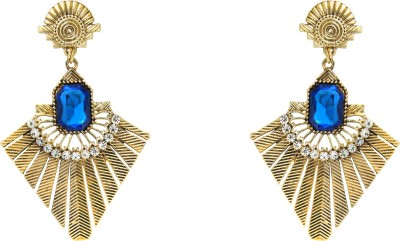 Donna Blue Square Triangle Crystal Metal Drop Earring