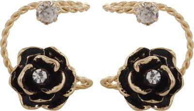 Fayon Fashion Statement Golden Flower Crystal Alloy Cuff Earring