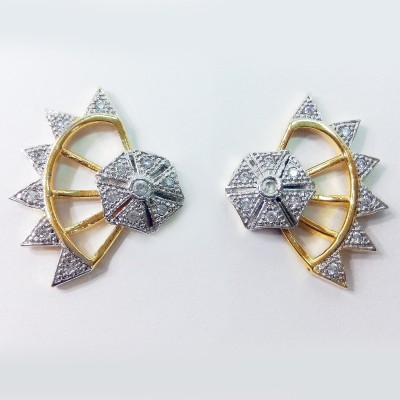 Fashion Max Floral Adjustable Brass Stud Earring