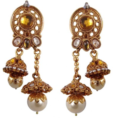 Hotpiper Royal Golden Cubic Zirconia, Pearl Alloy Jhumki Earring