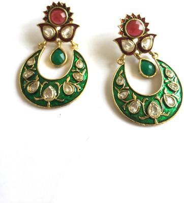 Arkina Diamonds Green Petal Brass Chandbali Earring